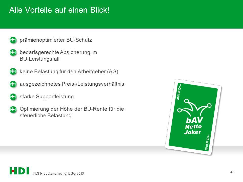 HDI Produktmarketing, EGO 2013 44 Alle Vorteile auf einen Blick! + + + prämienoptimierter BU-Schutz bedarfsgerechte Absicherung im BU-Leistungsfall ke