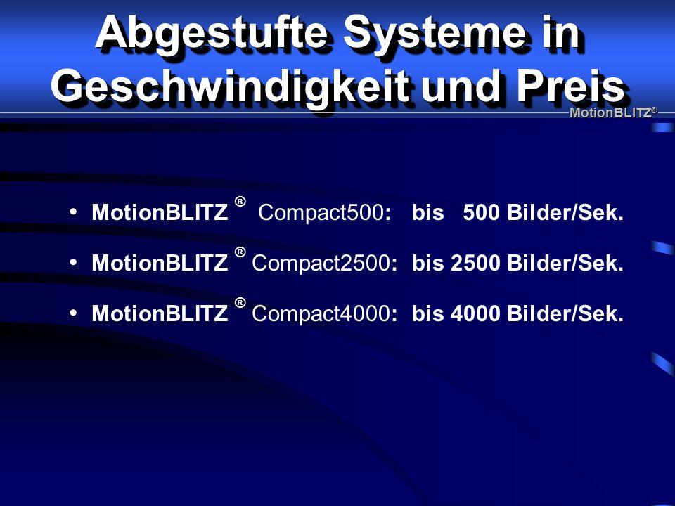 MotionBLITZ ® Compact2500: bis 2500 Bilder/Sek. MotionBLITZ ® Compact500: bis 500 Bilder/Sek.