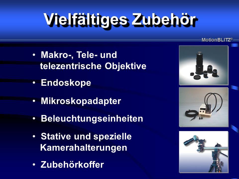 Endoskope Makro-, Tele- und telezentrische Objektive Mikroskopadapter Beleuchtungseinheiten Stative und spezielle Kamerahalterungen Zubehörkoffer MotionBLITZ ® Vielfältiges Zubehör