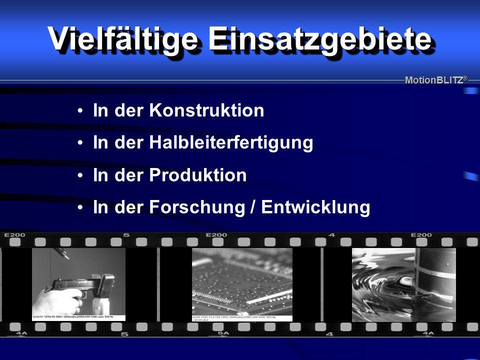 I In der Konstruktion Analyse mechanischer Abläufe Analyse von Steuerungsabläufen und Wartezeiten Maschinenoptimierung MotionBLITZ ®