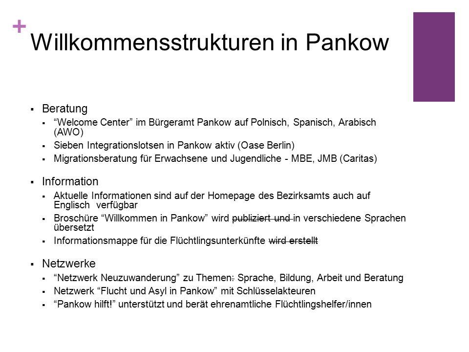 + Willkommensstrukturen in Pankow  Beratung  Welcome Center im Bürgeramt Pankow auf Polnisch, Spanisch, Arabisch (AWO)  Sieben Integrationslotsen in Pankow aktiv (Oase Berlin)  Migrationsberatung für Erwachsene und Jugendliche - MBE, JMB (Caritas)  Information  Aktuelle Informationen sind auf der Homepage des Bezirksamts auch auf Englisch verfügbar  Broschüre Willkommen in Pankow wird publiziert und in verschiedene Sprachen übersetzt  Informationsmappe für die Flüchtlingsunterkünfte wird erstellt  Netzwerke  Netzwerk Neuzuwanderung zu Themen: Sprache, Bildung, Arbeit und Beratung  Netzwerk Flucht und Asyl in Pankow mit Schlüsselakteuren  Pankow hilft! unterstützt und berät ehrenamtliche Flüchtlingshelfer/innen