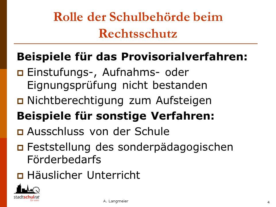 A. Langmeier 4 Rolle der Schulbehörde beim Rechtsschutz Beispiele für das Provisorialverfahren:  Einstufungs-, Aufnahms- oder Eignungsprüfung nicht b