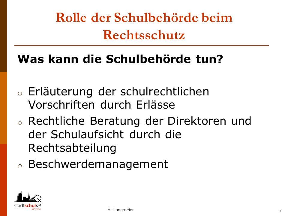 A. Langmeier 7 Rolle der Schulbehörde beim Rechtsschutz Was kann die Schulbehörde tun? o Erläuterung der schulrechtlichen Vorschriften durch Erlässe o