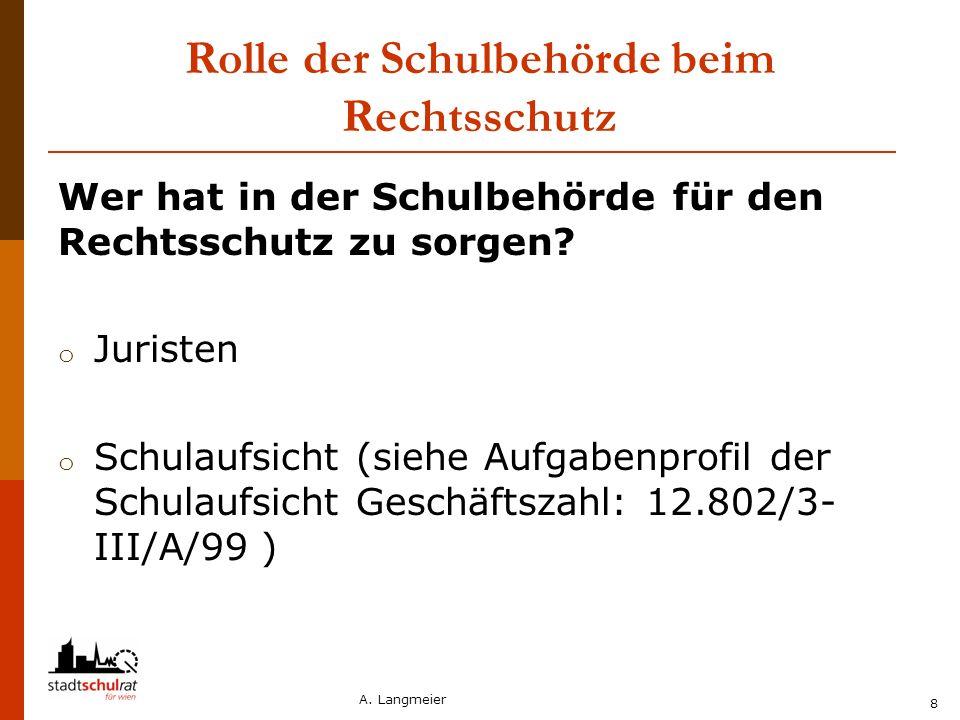 A. Langmeier 8 Rolle der Schulbehörde beim Rechtsschutz Wer hat in der Schulbehörde für den Rechtsschutz zu sorgen? o Juristen o Schulaufsicht (siehe