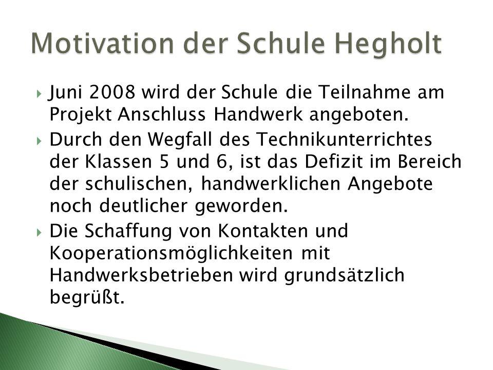  Juni 2008 wird der Schule die Teilnahme am Projekt Anschluss Handwerk angeboten.