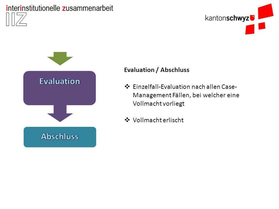 Evaluation / Abschluss  Einzelfall-Evaluation nach allen Case- Management Fällen, bei welcher eine Vollmacht vorliegt  Vollmacht erlischt