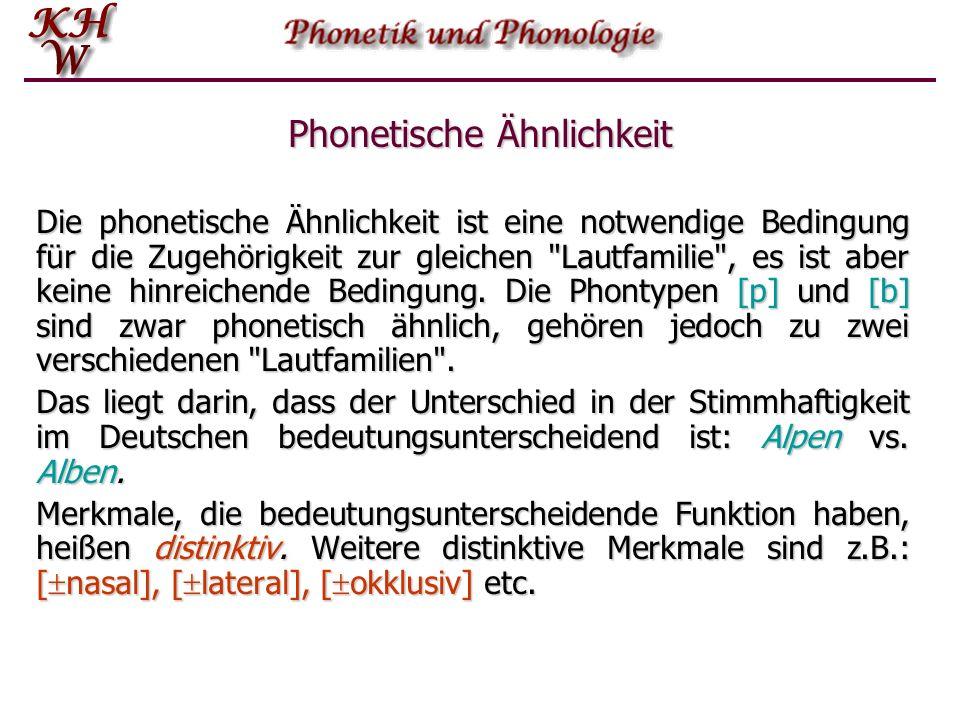 Phonetische Ähnlichkeit: Beispiel Die Segmente [p] und [b] sind ähnlich, insofern sie beide Plosivlaute sind und die gleiche Artikulationsstelle haben.