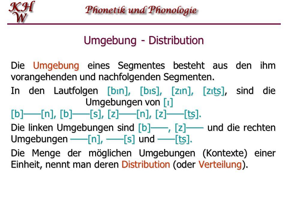 Distinktive Merkmale Damit zwei Lautsegmente distinktive Funktion haben können, müssen sie zumindest im Prinzip in der gleichen Position vorkommen können palbƏn t g