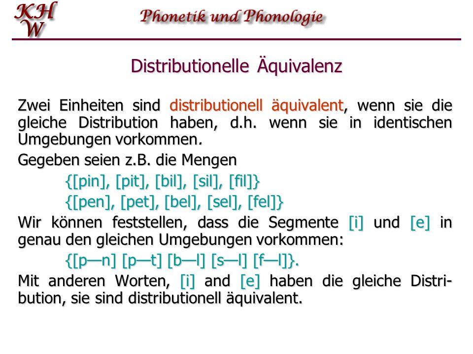 Distribution Nach Einführung des Begriffes der Distribution können wir nun verschiedene Entitäten hinsichtlich ihrer Distribution vergleichen.