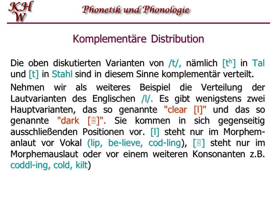 Komplementäre Distribution Das Gegenstück zur distributionellen Äquivalenz ist das völlige Fehlen gemeinsamer Umgebungen.
