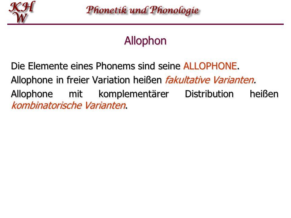 komplementäreDistribution Phonem als Klasse von Phontypen Ein PHONEM ist eine Menge von Phontypen, die funktional äquivalent sind.