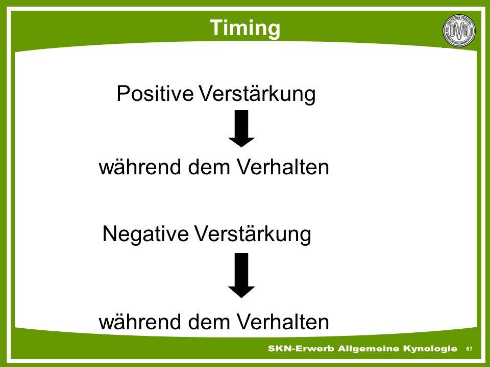 61 Timing Positive Verstärkung während dem Verhalten Negative Verstärkung während dem Verhalten