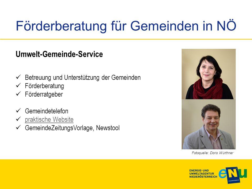 Förderberatung für Gemeinden in NÖ Umwelt-Gemeinde-Service Betreuung und Unterstützung der Gemeinden Förderberatung Förderratgeber Gemeindetelefon pra
