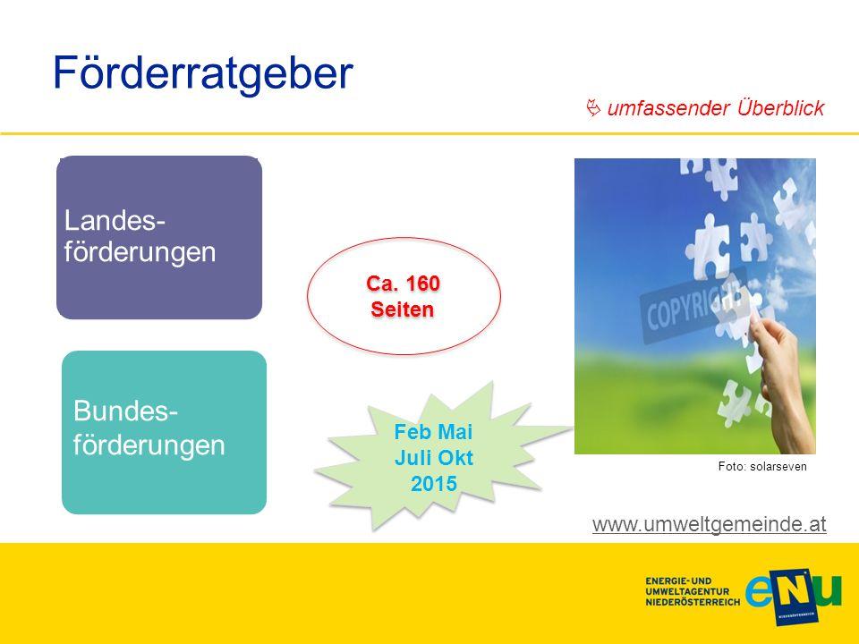 Landes- förderungen Bundes- förderungen Förderratgeber Feb Mai Juli Okt 2015 www.umweltgemeinde.at  umfassender Überblick Ca. 160 Seiten Foto: solars