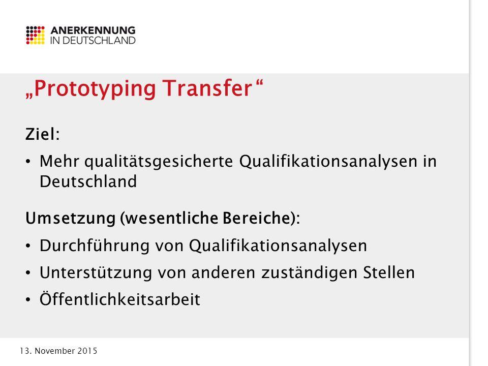 """13. November 2015 """"Prototyping Transfer """" Ziel: Mehr qualitätsgesicherte Qualifikationsanalysen in Deutschland Umsetzung (wesentliche Bereiche): Durch"""