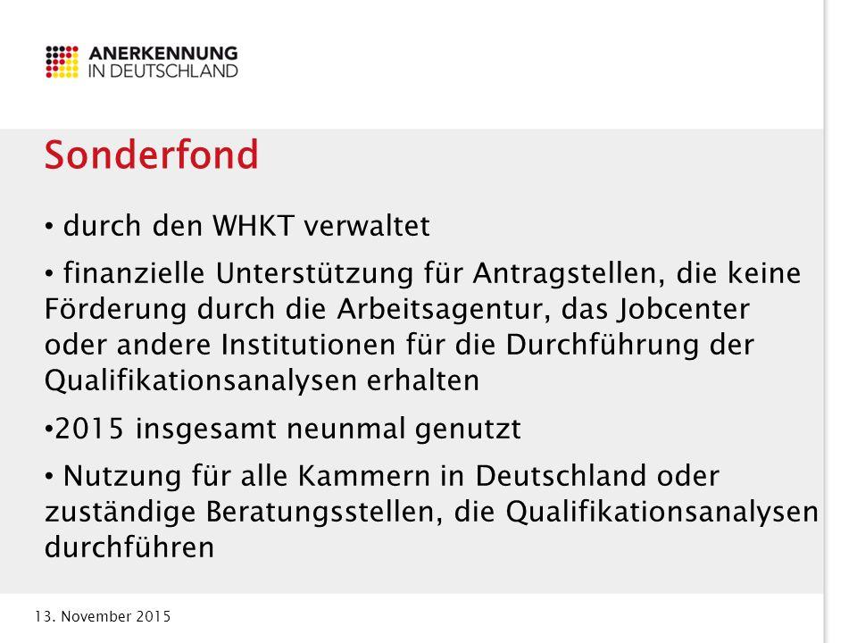 13. November 2015 Sonderfond durch den WHKT verwaltet finanzielle Unterstützung für Antragstellen, die keine Förderung durch die Arbeitsagentur, das J