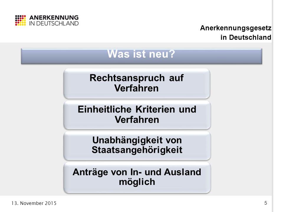 13. November 2015 5 Anerkennungsgesetz in Deutschland Rechtsanspruch auf Verfahren Einheitliche Kriterien und Verfahren Unabhängigkeit von Staatsangeh