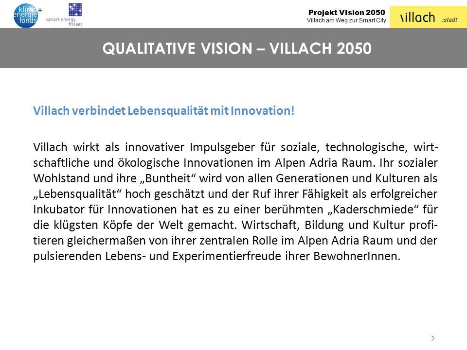 Projekt VIsion 2050 Villach am Weg zur Smart City Villach verbindet Lebensqualität mit Innovation! Villach wirkt als innovativer Impulsgeber für sozia