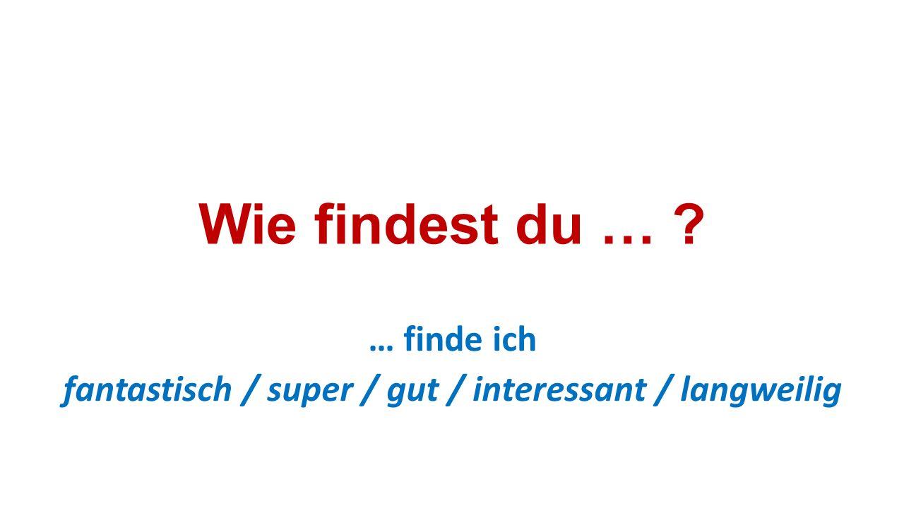 Wie findest du … ? … finde ich fantastisch / super / gut / interessant / langweilig
