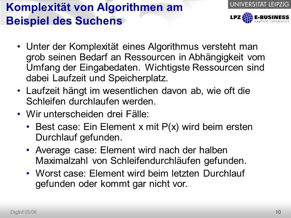 10 DigInf 05/06 Komplexität von Algorithmen am Beispiel des Suchens Unter der Komplexität eines Algorithmus versteht man grob seinen Bedarf an Ressourcen in Abhängigkeit vom Umfang der Eingabedaten.