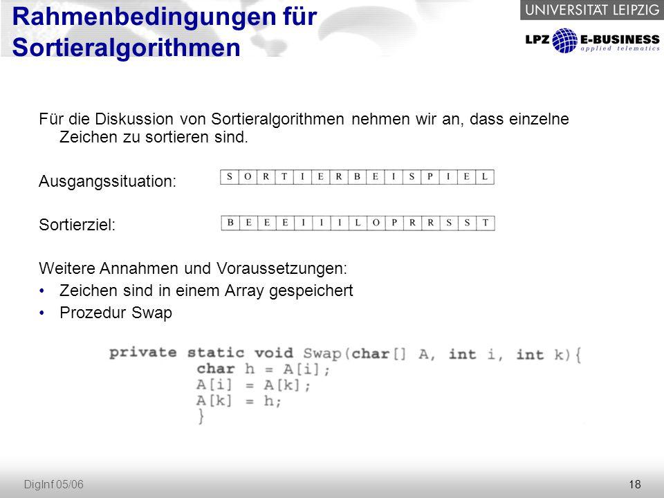 18 DigInf 05/06 Rahmenbedingungen für Sortieralgorithmen Für die Diskussion von Sortieralgorithmen nehmen wir an, dass einzelne Zeichen zu sortieren sind.