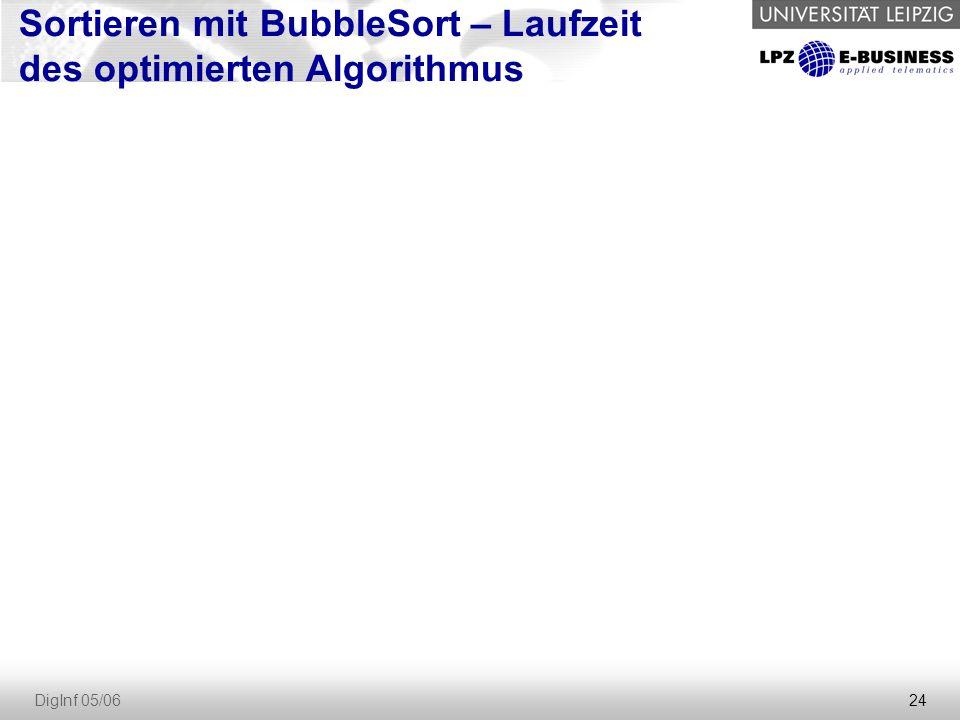 24 DigInf 05/06 Sortieren mit BubbleSort – Laufzeit des optimierten Algorithmus