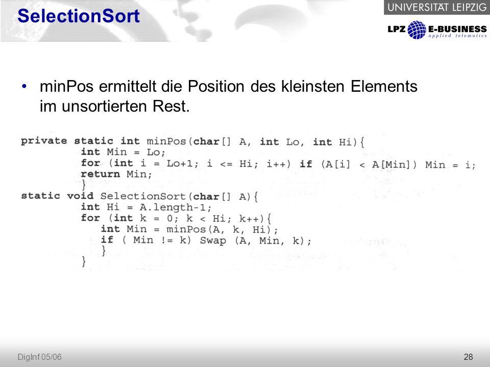 28 DigInf 05/06 SelectionSort minPos ermittelt die Position des kleinsten Elements im unsortierten Rest.