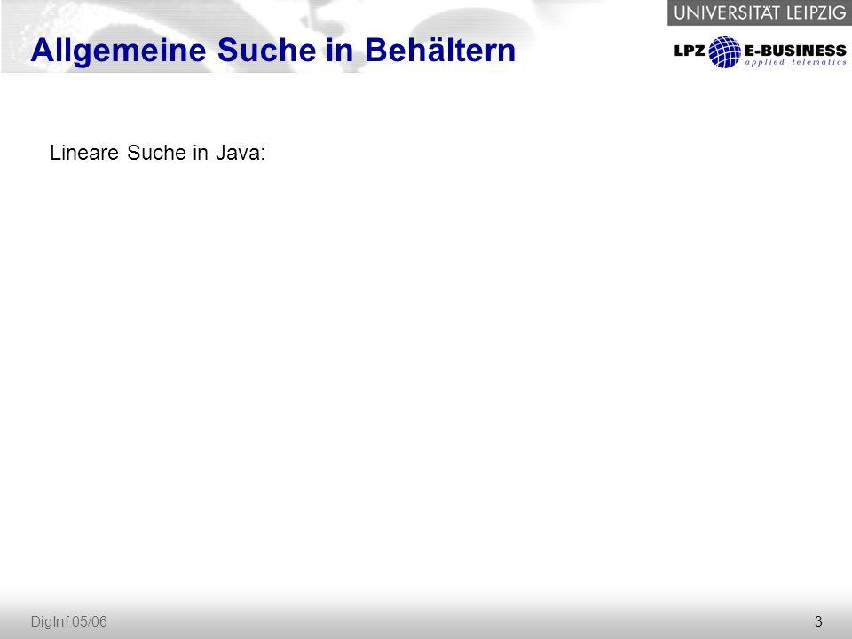 3 DigInf 05/06 Allgemeine Suche in Behältern Lineare Suche in Java:
