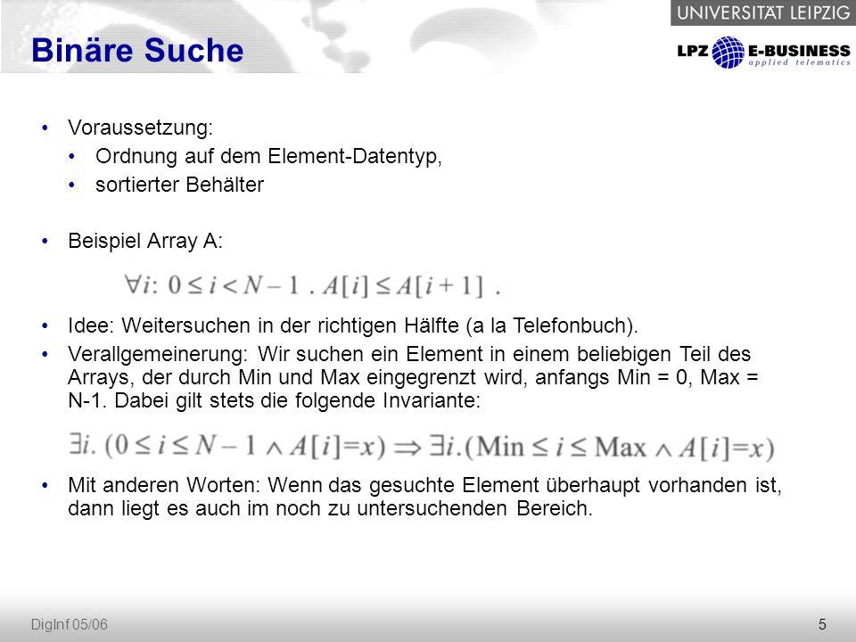 5 DigInf 05/06 Binäre Suche Voraussetzung: Ordnung auf dem Element-Datentyp, sortierter Behälter Beispiel Array A: Idee: Weitersuchen in der richtigen Hälfte (a la Telefonbuch).