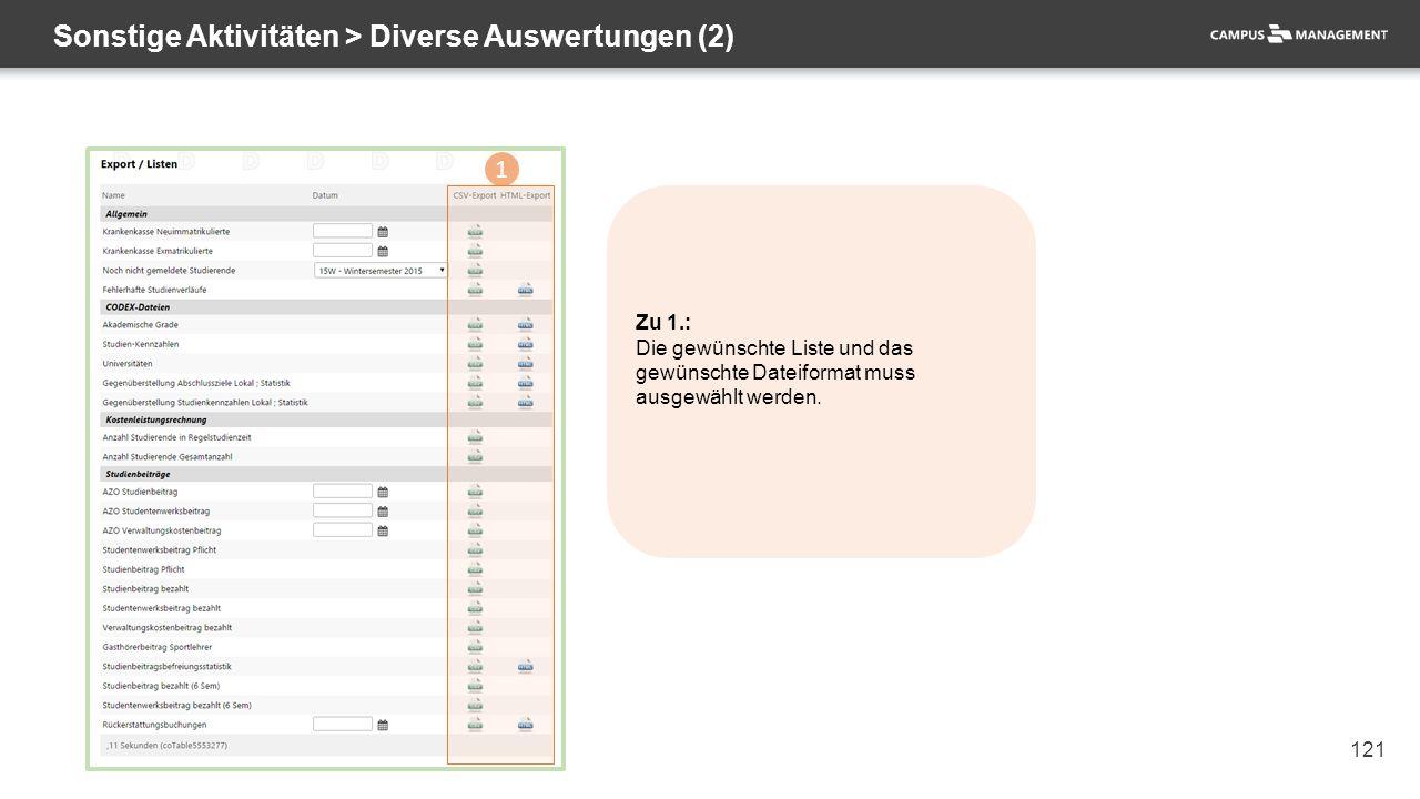 121 Sonstige Aktivitäten > Diverse Auswertungen (2) 1 Zu 1.: Die gewünschte Liste und das gewünschte Dateiformat muss ausgewählt werden.