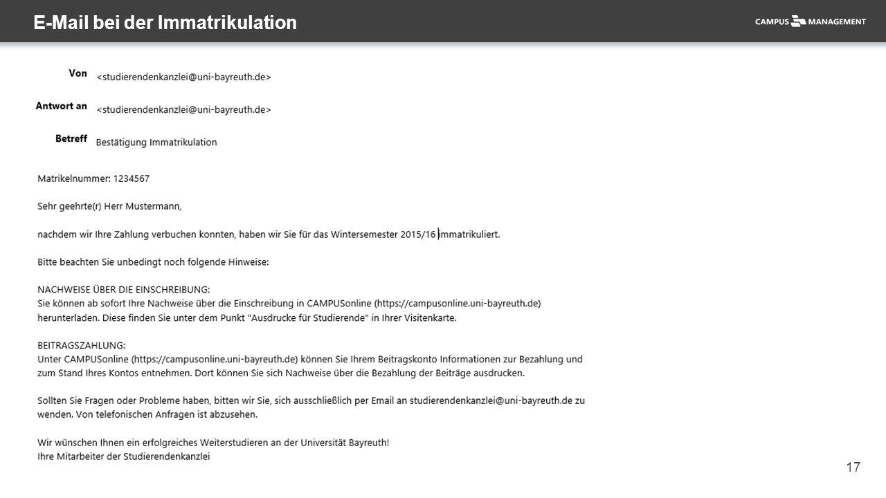 17 E-Mail bei der Immatrikulation