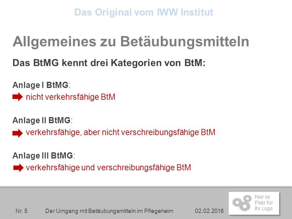 Hier ist Platz für Ihr Logo Allgemeines zu Betäubungsmitteln Das BtMG kennt drei Kategorien von BtM: Anlage I BtMG: nicht verkehrsfähige BtM Anlage II BtMG: verkehrsfähige, aber nicht verschreibungsfähige BtM Anlage III BtMG: verkehrsfähige und verschreibungsfähige BtM 02.02.2016 Der Umgang mit Betäubungsmitteln im Pflegeheim Nr.