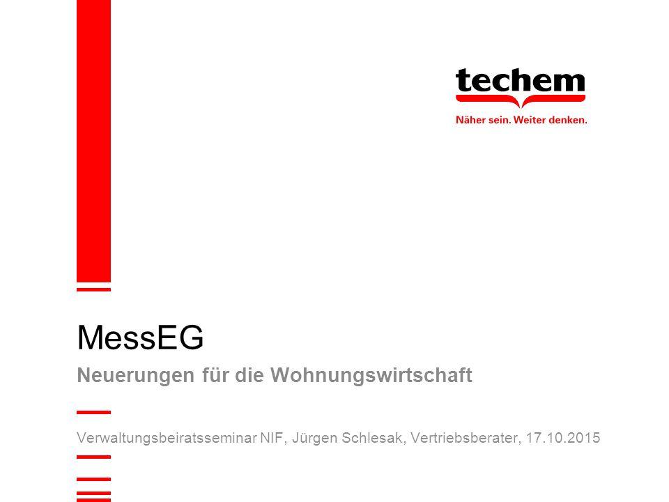 Verwaltungsbeiratsseminar NIF, Jürgen Schlesak, Vertriebsberater, 17.10.2015 MessEG Neuerungen für die Wohnungswirtschaft