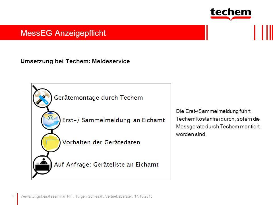 MessEG Anzeigepflicht Umsetzung bei Techem: Meldeservice Verwaltungsbeiratsseminar NIF, Jürgen Schlesak, Vertriebsberater, 17.10.20154 Die Erst-/Samme