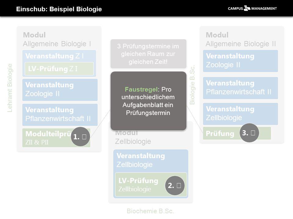 Einschub: Beispiel Biologie Modul Allgemeine Biologie I Veranstaltung Zoologie II Modulteilprüfung ZII & PII Veranstaltung Z I LV-Prüfung Z I Veranstaltung Pflanzenwirtschaft II Lehramt Biologie Modul Allgemeine Biologie II Biologie B.Sc.