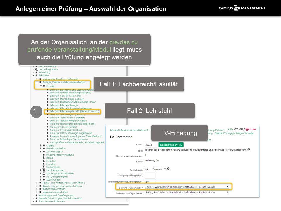Anlegen einer Prüfung – Auswahl der Organisation Fall 1: Fachbereich/Fakultät Fall 2: Lehrstuhl 1.