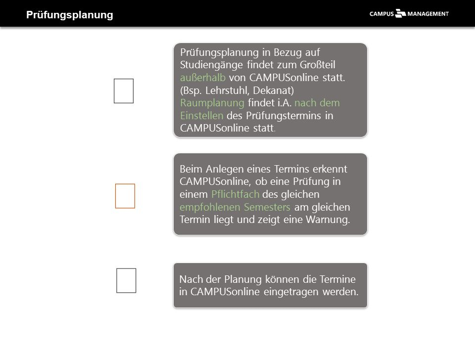 Applikation «Prüfungsverwaltung» - Neue Prüfung anlegen Prüfungstyp wählen 2 Veranstaltung/Modul wählen 1