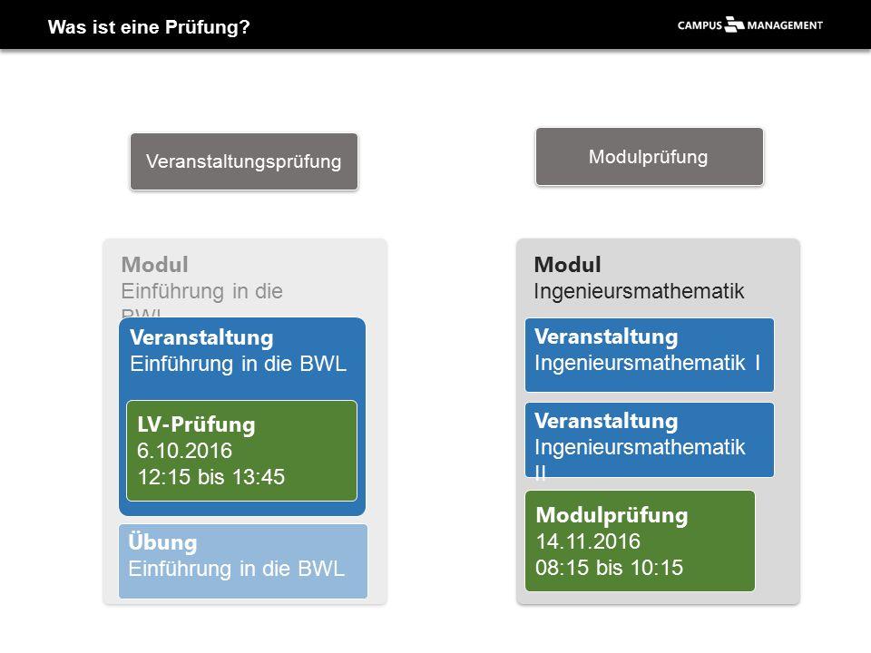 Applikation «Prüfungsverwaltung» - Veranstaltung/Modul wählen 2 Semester festlegen…