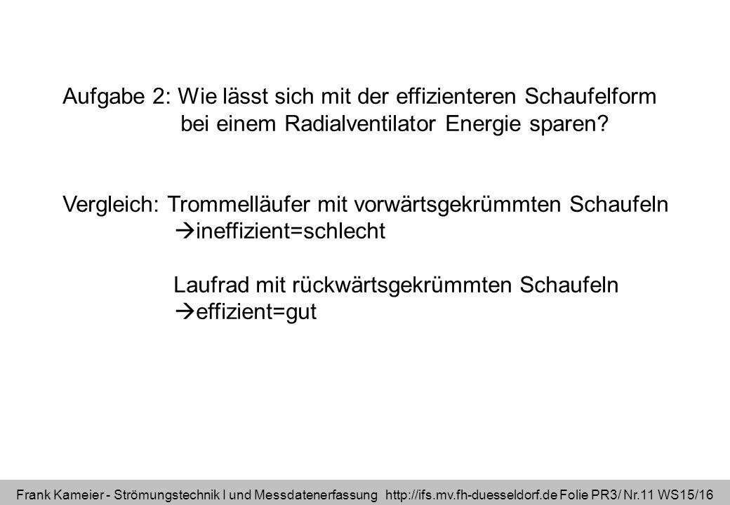 Frank Kameier - Strömungstechnik I und Messdatenerfassung http://ifs.mv.fh-duesseldorf.de Folie PR3/ Nr.11 WS15/16 Aufgabe 2: Wie lässt sich mit der effizienteren Schaufelform bei einem Radialventilator Energie sparen.