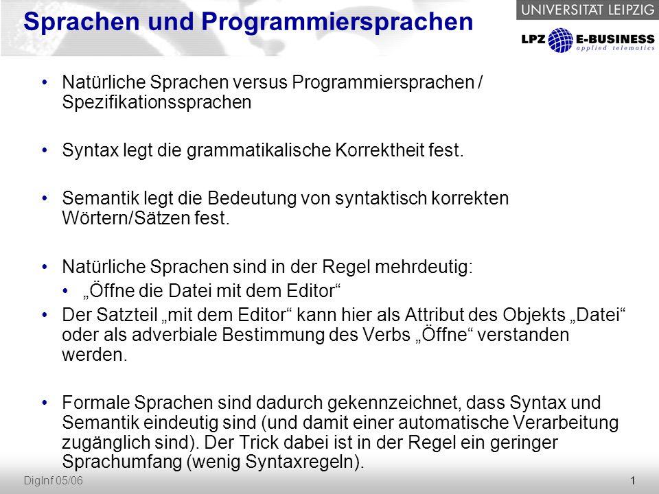 2 DigInf 05/06 Übersicht über die Entwicklung von Programmiersprachen Maschinensprache 001001 Maschinensprache 001001 Assembler Bspe: RS600-Assembler Konstrukte: MV, ADD, GET) Assembler Bspe: RS600-Assembler Konstrukte: MV, ADD, GET) Imperative / Prozedurale Sprachen Bspe: Fortran, Cobol, Algol, PL1, Ada, C Prozeduren, while, case, if Imperative / Prozedurale Sprachen Bspe: Fortran, Cobol, Algol, PL1, Ada, C Prozeduren, while, case, if Logische Sprachen Bsp: Prolog Konstrukte: Fakten, Regeln Logische Sprachen Bsp: Prolog Konstrukte: Fakten, Regeln Objektorientierte Sprachen Bspe: C++, Smalltalk, Eiffel, Java Objektorientierte Sprachen Bspe: C++, Smalltalk, Eiffel, Java Funktionale Sprachen Bspe: LISP, ML, Miranda Konstrukte: Funktionen Funktionale Sprachen Bspe: LISP, ML, Miranda Konstrukte: Funktionen Vorgängerbeziehung Zeit