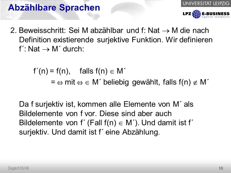 10 DigInf 05/06 Abzählbare Sprachen 2. Beweisschritt: Sei M abzählbar und f: Nat  M die nach Definition existierende surjektive Funktion. Wir definie