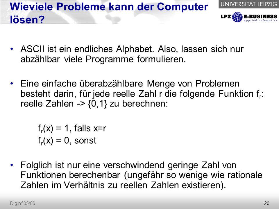 20 DigInf 05/06 Wieviele Probleme kann der Computer lösen? ASCII ist ein endliches Alphabet. Also, lassen sich nur abzählbar viele Programme formulier