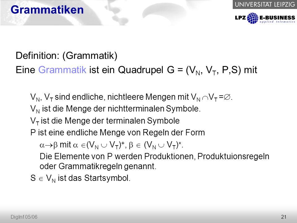 21 DigInf 05/06 Grammatiken Definition: (Grammatik) Eine Grammatik ist ein Quadrupel G = (V N, V T, P,S) mit V N, V T sind endliche, nichtleere Mengen mit V N  V T = .