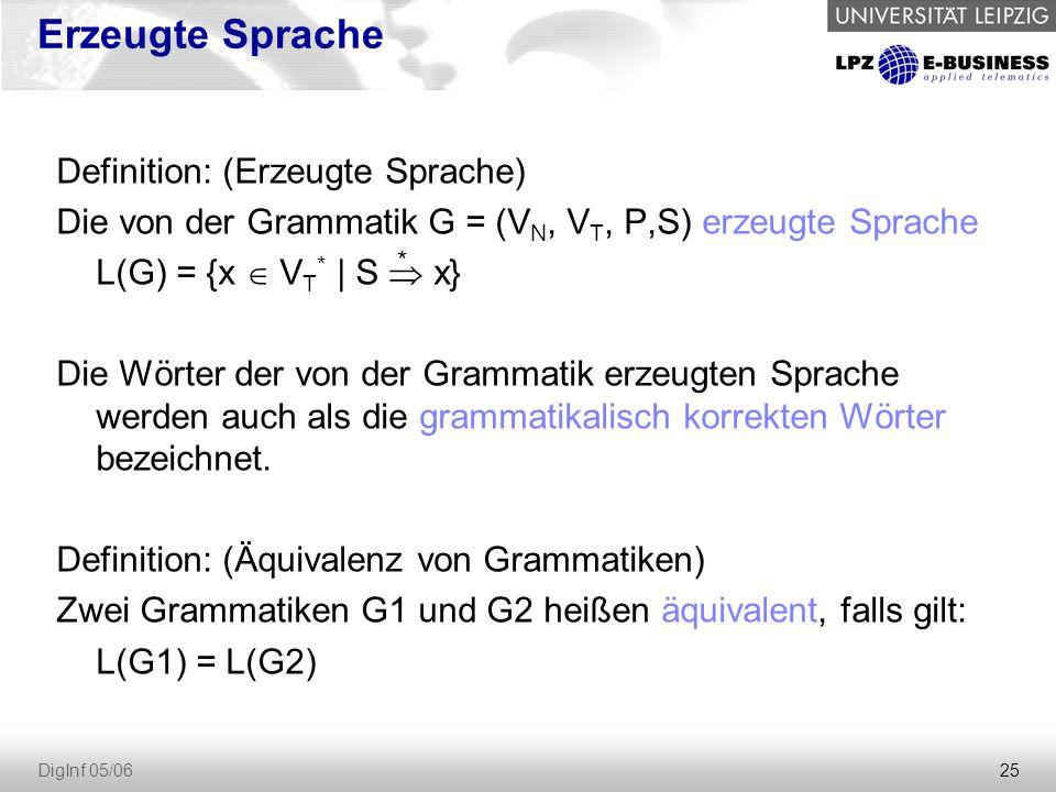25 DigInf 05/06 Erzeugte Sprache Definition: (Erzeugte Sprache) Die von der Grammatik G = (V N, V T, P,S) erzeugte Sprache L(G) = {x  V T * | S  x} Die Wörter der von der Grammatik erzeugten Sprache werden auch als die grammatikalisch korrekten Wörter bezeichnet.