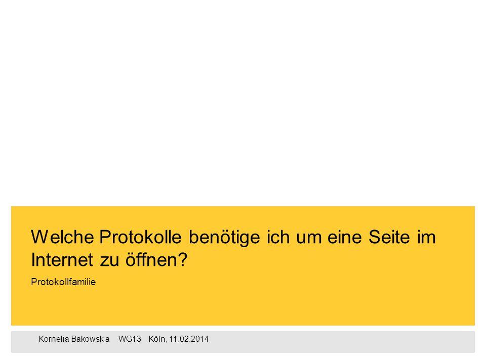 1 Kornelia Bakowska  WG13  Köln, 11.02.2014 1.Definition (TCP/ IP Protokollfamilie 2.Definition (Protokoll) 3.TCP/ IP Schichtenmodell 4.Erklärung zu den Schichten 5.Ziele der TCP/ IP Entwicklung 6.Quellenangaben Agenda