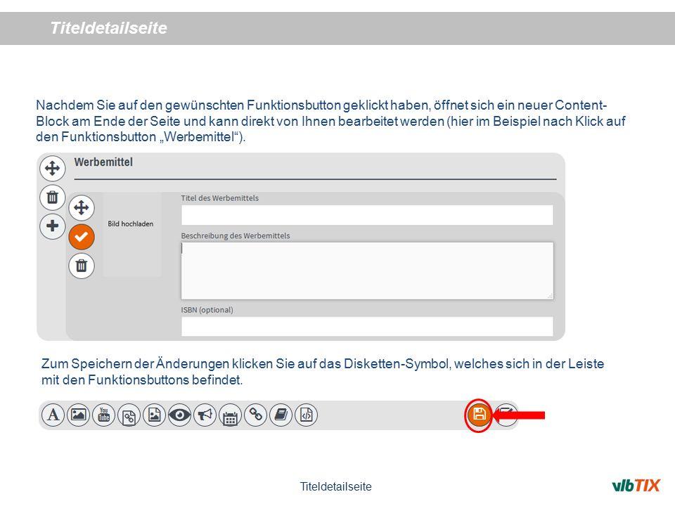 """Nachdem Sie auf den gewünschten Funktionsbutton geklickt haben, öffnet sich ein neuer Content- Block am Ende der Seite und kann direkt von Ihnen bearbeitet werden (hier im Beispiel nach Klick auf den Funktionsbutton """"Werbemittel )."""