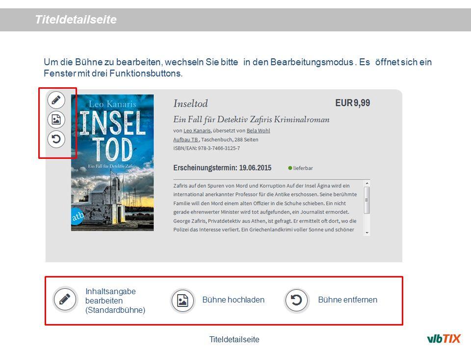 Titeldetailseite Um Zusatzinformationen anzureichern, klicken Sie den gewünschten Button in der Funktionsleiste.
