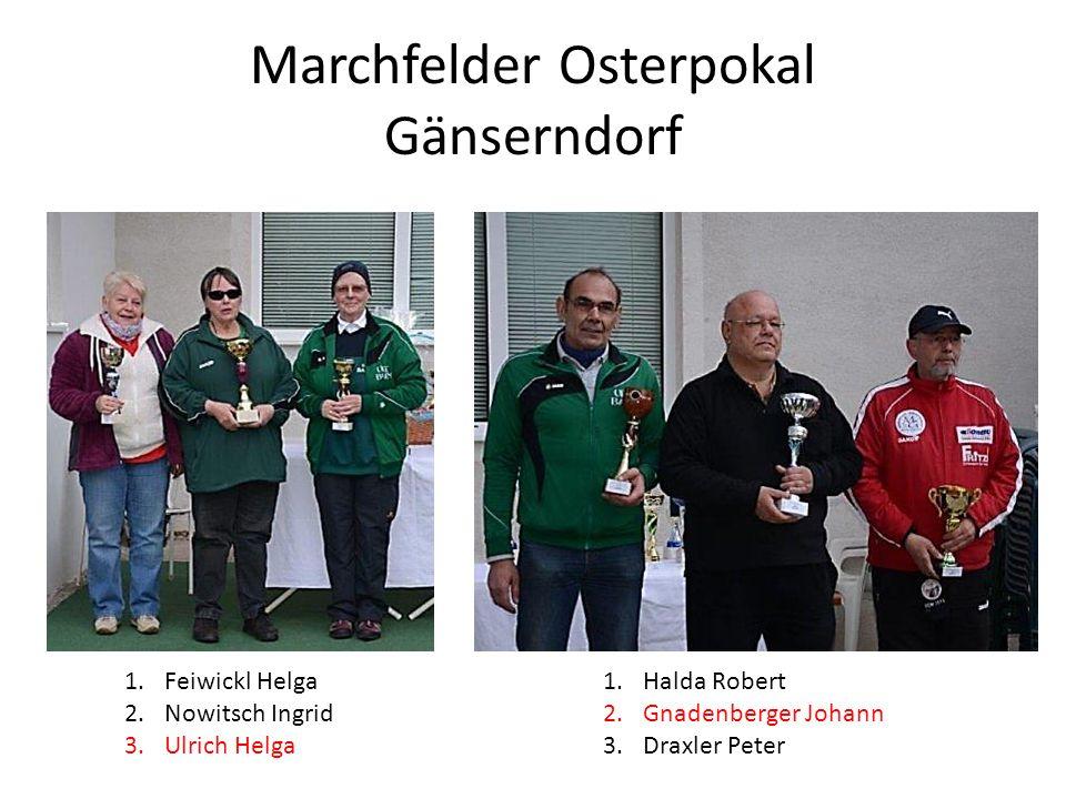 Marchfelder Osterpokal Gänserndorf 1.Feiwickl Helga 2.Nowitsch Ingrid 3.Ulrich Helga 1.Halda Robert 2.Gnadenberger Johann 3.Draxler Peter