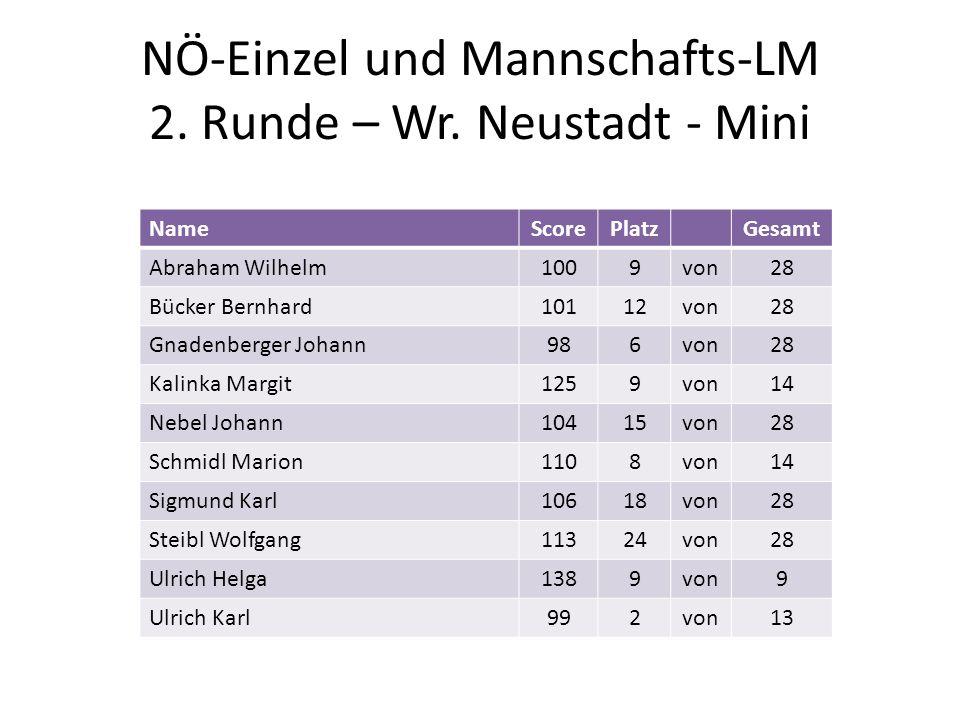 NÖ-Einzel und Mannschafts-LM 2. Runde – Wr. Neustadt - Mini NameScorePlatzGesamt Abraham Wilhelm1009von28 Bücker Bernhard10112von28 Gnadenberger Johan