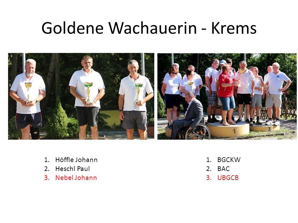 Goldene Wachauerin - Krems 1.Höffle Johann 2.Heschl Paul 3.Nebel Johann 1.BGCKW 2.BAC 3.UBGCB